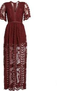 Socialite Lace Romper Dress - Burgundy